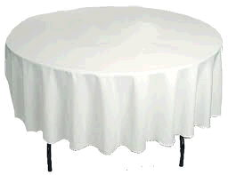 Where to find TABLECLOTH, 90  RND  WHITE in Eunice